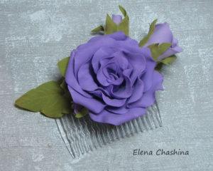 фиолетовый цветок на гребне0 300x240 Украшение для волос